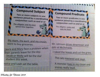 Compound Subjects and Predicates Foldable
