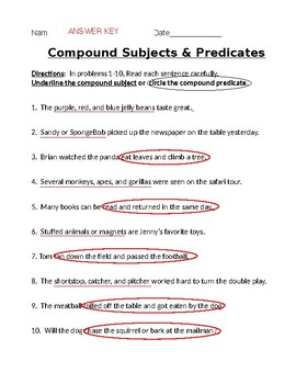 Compound Subjects and Predicates Practice