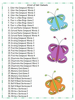 Second Grade Compound Words Activities