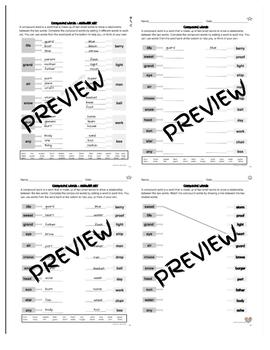 Compound Word Builder Worksheets - Differentiated