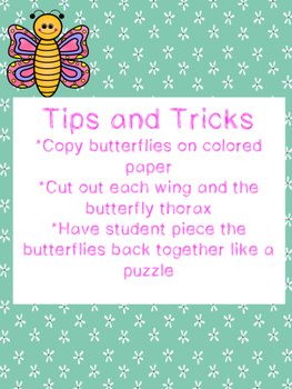 Compound Word Butterflies Center and Worksheet