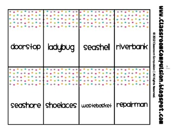 Compound Word Cards aligned with Reading Street 2011 (3rd Grade)