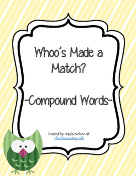 Compound Word Center Owl Themed