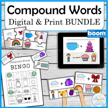Compound Word Centers and Digital Cards BUNDLE