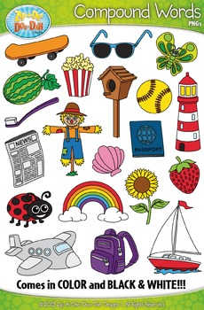 Compound Word Clipart Set 2 {Zip-A-Dee-Doo-Dah Designs}