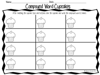 Compound Word Cupcakes - Matching Activity