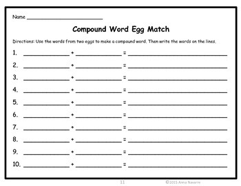 Compound Word Egg Match