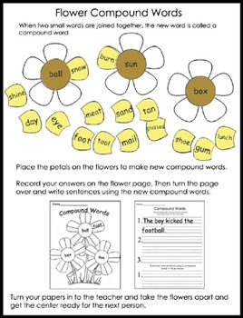 Literacy Center - Compound Word Flowers
