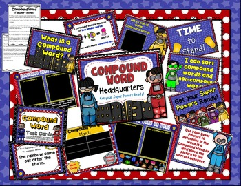 Compound Word Headquarters Galore: Technology, Centers, and More! FLASH FREEBIE