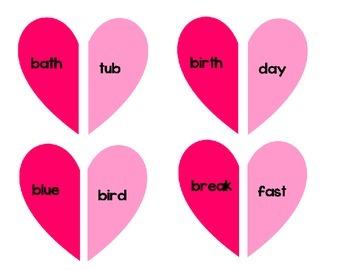 Valentine's Day Compound Word Hearts