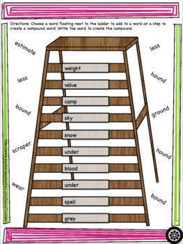 Compound Word Ladders Grades 3 to 6