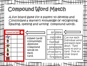 Compound Word Match; A bright, fun and educational game!