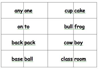 Compound Word Match (center or partner activity)