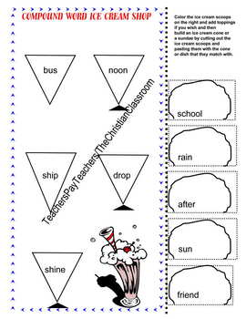 Compound Word Matching Cut and Paste workship Activity