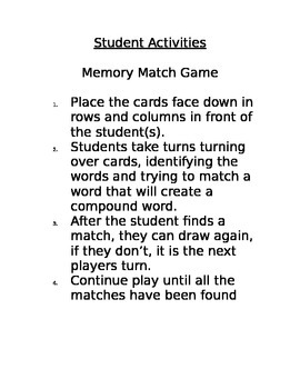 Compound Word Matching Game