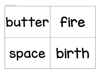 Compound Word Matching Game B&W AND Color
