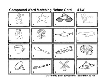 Compound Word Matching Lotto Boards in BW Only