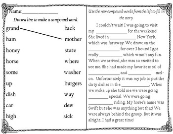 Compound Word Matching and Story Activity Sheets
