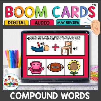 Compound Word Practice Boom Cards for Kindergarten
