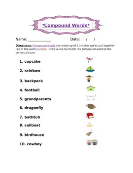 Compound Word Practice- Matching Pictures and Words