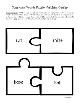 Compound Word Puzzle Matching Center and Recording Sheet