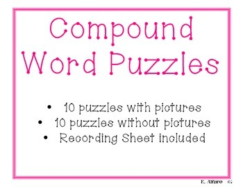 Compound Word Puzzles - Use with Orton Gillingham