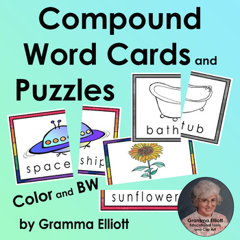 Compound Word Cards and Puzzles for Centers and Tutoring in Color and BW
