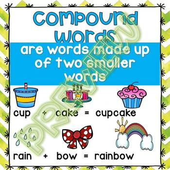 Compound Word Puzzles, Compound Word Centers, Compound Word Activity