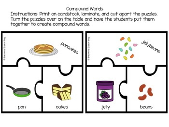 Compound Word Puzzles + Homework Sheets
