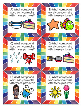 Compound Word Puzzles, Task Cards, and Worksheets