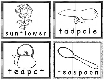 Compound Word Puzzles for Centers and Tutoring - Ready for Coloring - BW Only