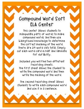 Compound Word Sort- ELA Center