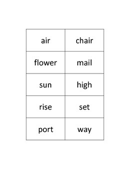 Compound Word Sorting Activity