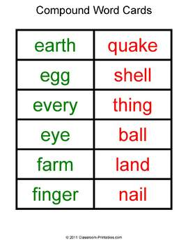 Compound Word Sorting Mats