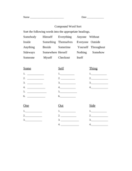 Compound Word Sorts