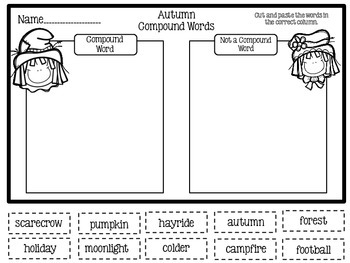 Compound Word Station and Worksheet-Fall Theme