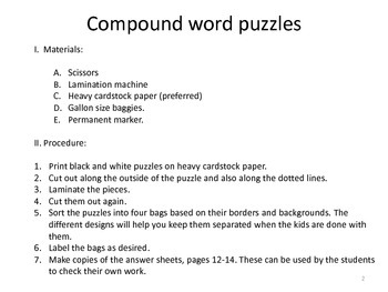 Compound Word Train Task Cards