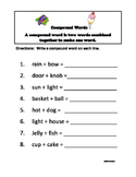 Compound Word Worksheet - 1st - 3rd Grade