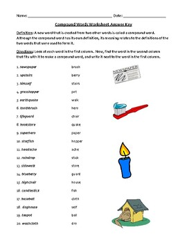 Compound Words Worksheet (or Test) with Detailed Answer Key