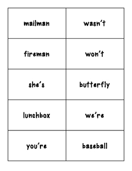 Compound Word or Contraction Sorting Center and Recording Sheet