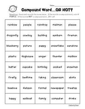 Compound Word...or Not?  Color Worksheet