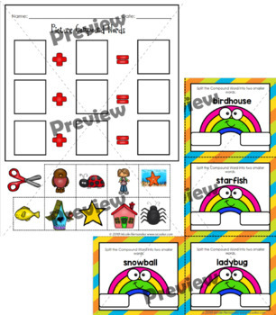 Compound Words Posters, Task Cards and Worksheets