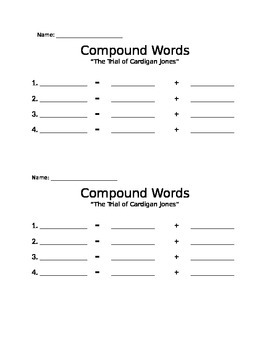 """Compound Words Search in """"The Trial of Cardigan Jones"""" Recording Form"""