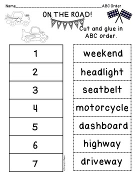 Compound Words Race Car Theme
