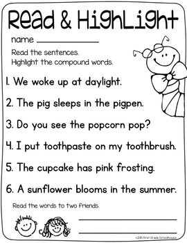 compound words word work by first grade schoolhouse tpt. Black Bedroom Furniture Sets. Home Design Ideas