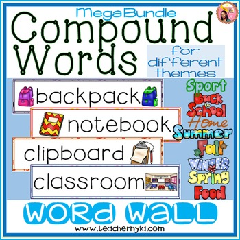Compound Words Illustrated Word Wall for different themes