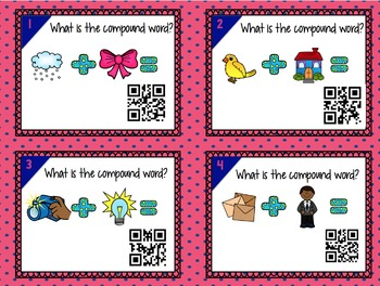 Compound Words PowerPoint and QR Code Task Cards