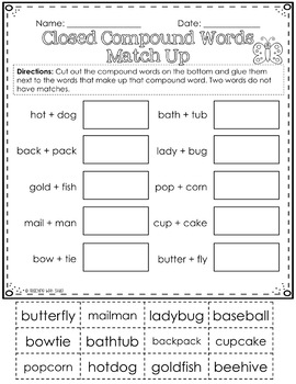 Compound Words Activities and Worksheets