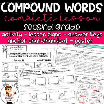 Compound Words Activity with Lesson Plans, Handout, Poster, and Answer Keys