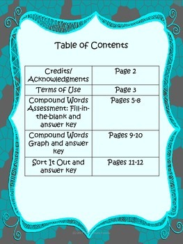 Compound Words Assessments for Upper Elementary Grades